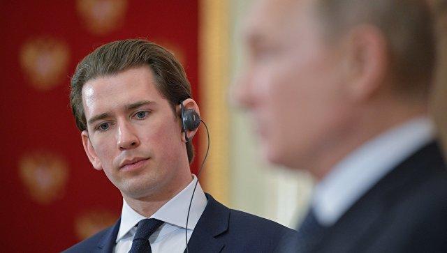 Канцлер Австрии Себастьян Курц во время совместной пресс-конференции по итогам встречи с президентом РФ Владимиром Путиным. Архивное фото