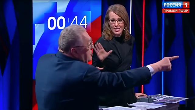 Собчак и штаб Жириновского отреагировали на инцидент на дебатах