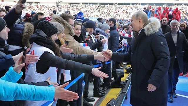 Кандидат в президенты РФ Владимир Путин на митинге За сильную Россию! в СК Лужники. 3 марта 2018