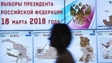 Экраны со статистикой явки избирателей на выборах президента РФ