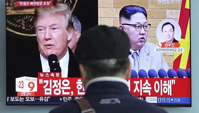 Портреты Дональда Трампа и Ким Чен Ына на экране телевизора в Сеуле, Южная Корея. Архивное фото