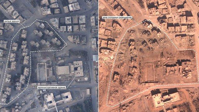 Фотографии аэрофотосъемки, подтверждающие разрушения городских кварталов города Ракки, нанесенных бомбардировками коалиции. 7 апреля 2018