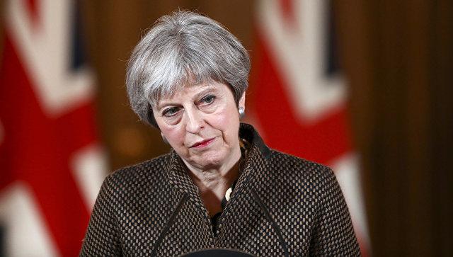Премьер-министр Великобритании Тереза Мэй примет участие в пресс-конференции в Лондоне. 14 апреля 2018