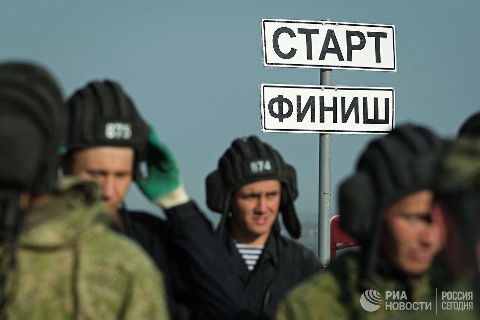 Указатель Старт - Финиш на армейском конкурсе Десантный взвод в Краснодарском крае