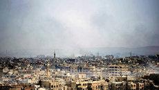 Сирийские военные наносят удары по позициям боевиков террористических организаций к югу от Дамаска, Сирия. 20 апреля 2018