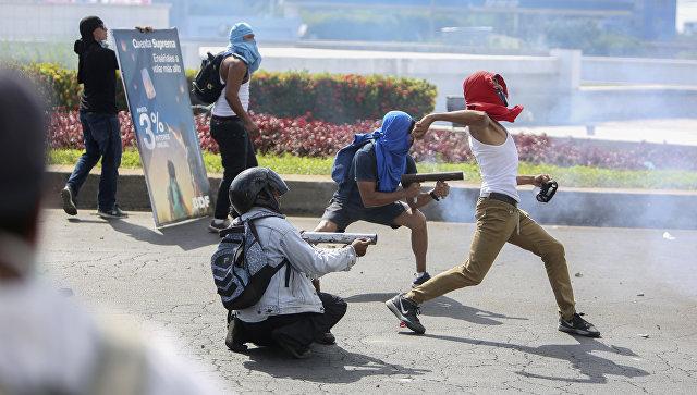 Участники акции протеста в Манагуа, Никарагуа. Архивное фото
