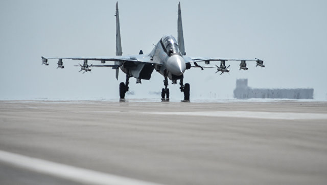Истребитель Су-30СМ на авиабазе Хмеймим. Архивное фото