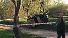 Пассажирская повозка, опрокинувшаяся в парке Коломенское. 3 мая 2018