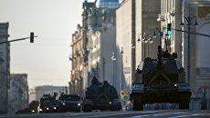 Самоходная артиллерийская установка (САУ) Коалиция-СВ перед началом репетиции военного парада на Красной площади. 3 мая 2018