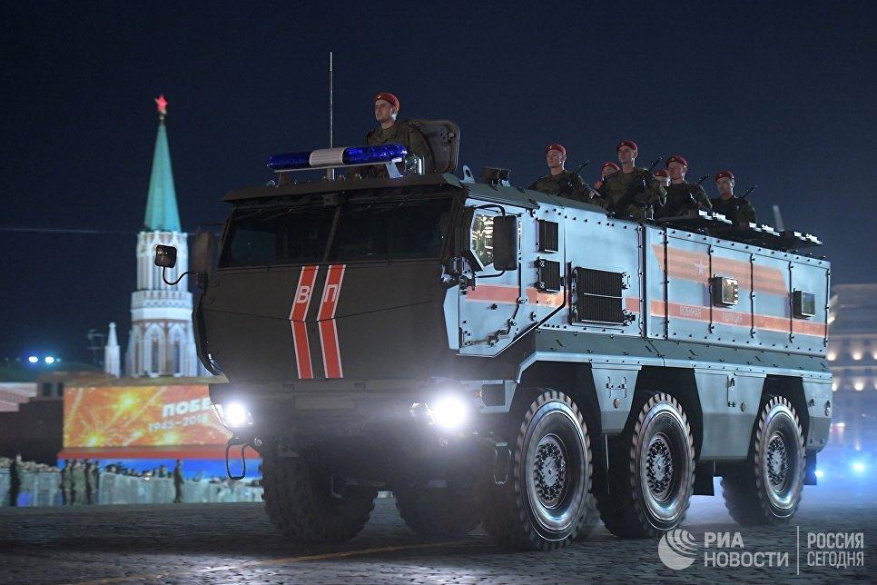 Бронеавтомобиль Тайфун-К на репетиции военного парада на Красной площади, посвященного 73-й годовщине Победы в Великой Отечественной войне