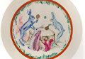 Иван Ризнич. Тарелка Настольный теннис. 1930. ЛФЗ. Фарфор, ропись надглазурная