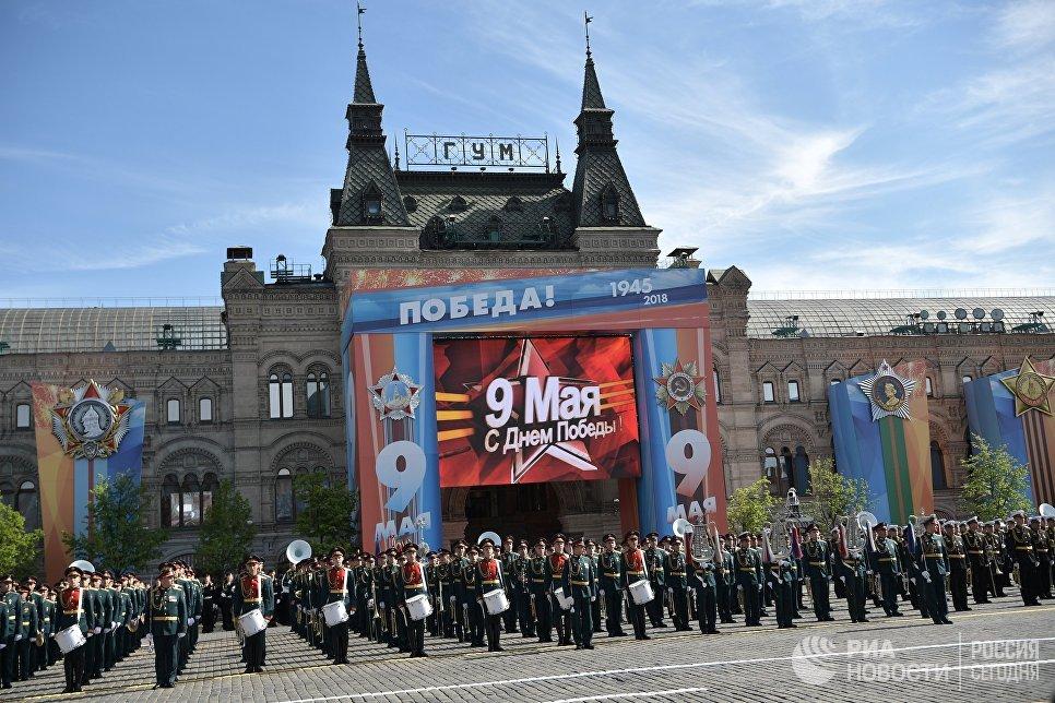 Военный оркестр на военном параде, посвященном 73-й годовщине Победы в Великой Отечественной войне 1941-1945 годов. 9 мая 2018