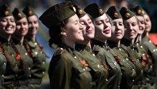 Участницы военного парада в Казани, посвященного 73-й годовщине Победы в Великой Отечественной войне