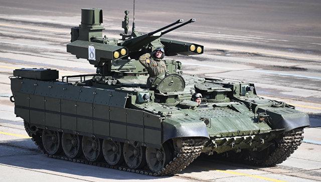 Боевая машина поддержки танков Терминатор во время репетиции Парада Победы на военном полигоне Алабино в Московской области