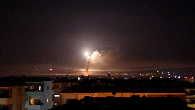 Ракетный огонь на Дамаском, Сирия. 10 мая 2018