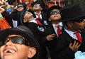 Дети на ежегодном фестивале цветов и пальм Панчималько в Панчималько, Сан-Сальвадор. 6 мая 2018 года