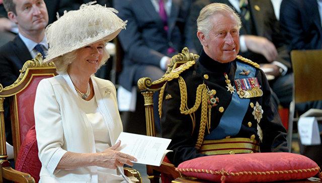 Чарльз, принц Уэльский и Камилла, герцогиня Корнуольская. Прзаднование 200-летия битвы при Ватерлоо в Лондоне. Июнь 2015