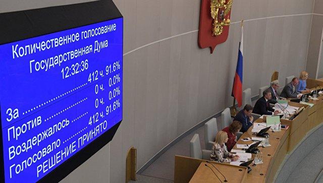 Электронное табло с итогами голосования о проекте федерального закона о контрсанкциях на пленарном заседании Государственной Думы РФ. 15 мая 2018