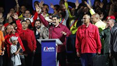 Президент Венесуэлы Николас Мадуро выступает после обнародования результатов выборов. 20 мая 2018