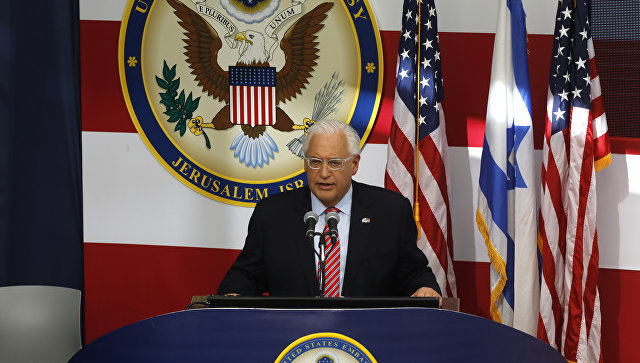 Посол США в Израиле Дэвид Фридман выступает с речью во время открытия посольства США в Иерусалиме, Израиль. 14 мая 2018