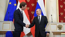 Канцлер Австрии Себастьян Курц и президент РФ Владимир Путин. Архивное фото