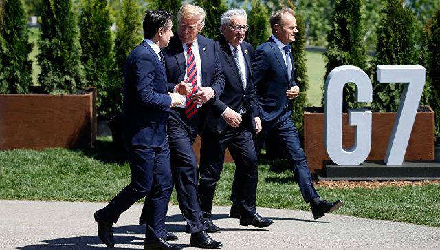 Премьер-министр Италии Джузеппе Конте, президент США Дональд Трамп, президент Еврокомиссии Жан-Клод Юнкер и президентом Европейского совета Дональд Туск на саммите G7 в Квебеке