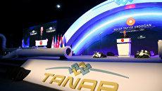 Президент Турции Реджеп Тайип Эрдоган выступает на торжественной церемонии открытия Трансанатолийского газопровода (TANAP) в городе Эскишехир. 12 июня 2018