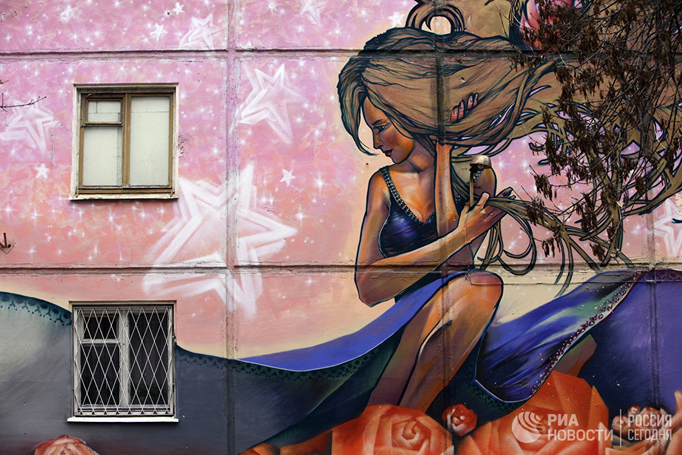 Граффити на стенах домов в Москве