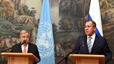 Генеральный секретарь ООН Антониу Гутерреш и министр иностранных дел РФ Сергей Лавров. Архивное фото