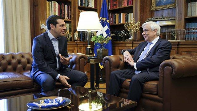 Президент Греции Прокопис Павлопулос и премьер-министр Греческой Республики Алексис Ципрас во время встречи. 22 июня 2018