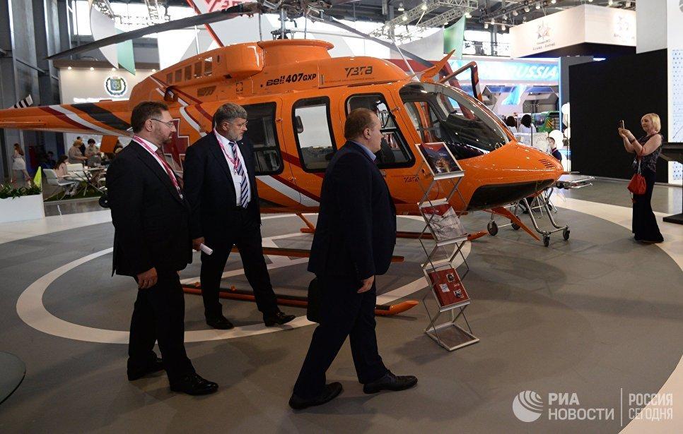 Универсальный многоцелевой вертолет Bell-407GXP на Международной промышленной выставке Иннопром - 2018 в международном выставочном центре Екатеринбург-ЭКСПО