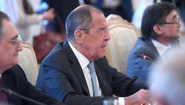 Сергей Лавров на встрече заместителей министров иностранных дел государств - членов ШОС в Москве. 12 июля 2018