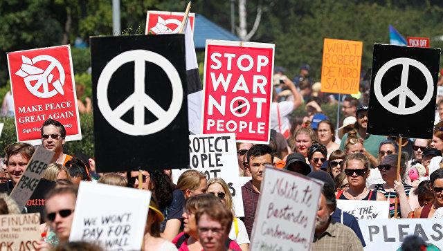 Участники митинга за права человека накануне встречи Владимира Путина и Дональда Трампа. 15 июля 2018