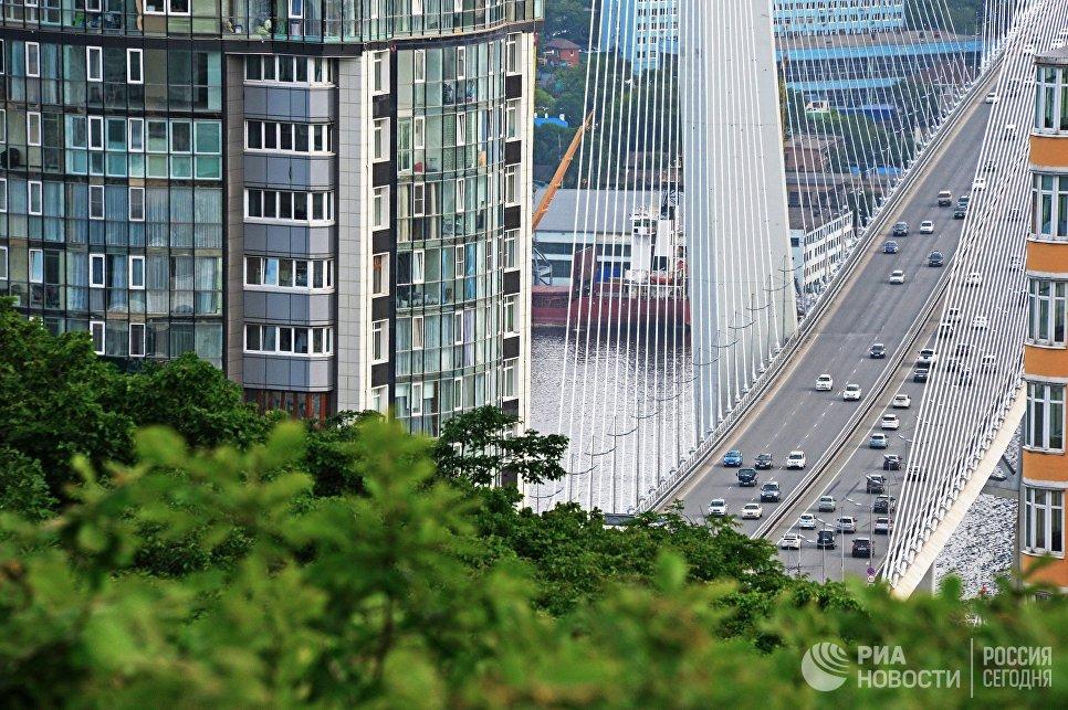 Вид с сопки Орлиное гнездо на вантовый мост через бухту Золотой Рог во Владивостоке