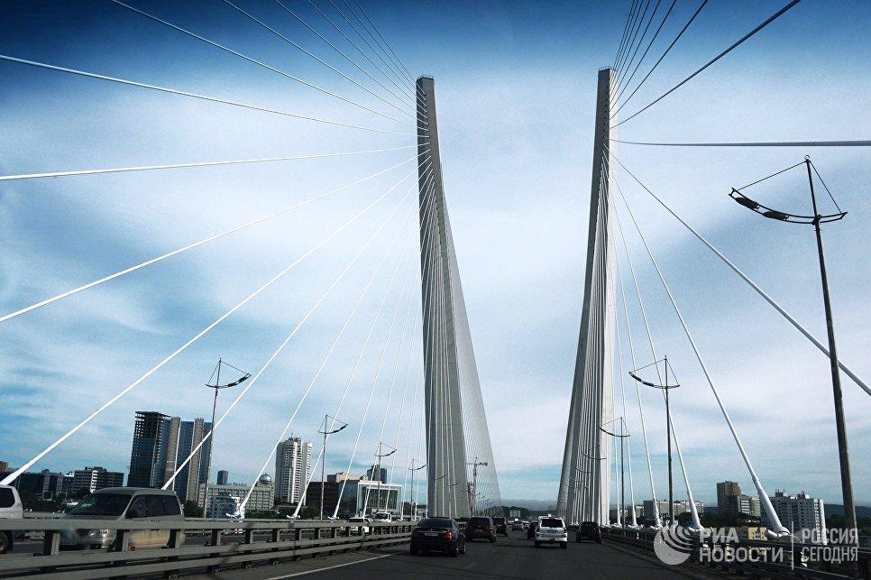 Вантовый мост во Владивостоке через пролив Босфор Восточный, соединяет полуостров Назимова с мысом Новосильского на острове Русском