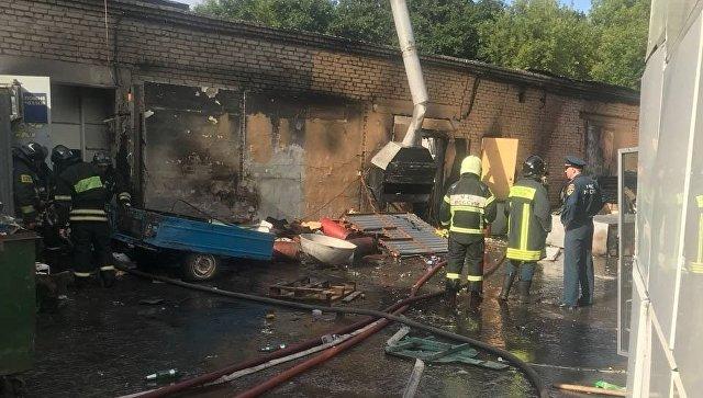 Последствия взрыва на Улице Авиационная в Москве. 16 июля 2018