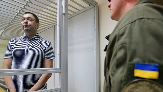 Руководитель портала РИА Новости Украина Кирилл Вышинский в зале апелляционного суда Херсонской области Украины. 6 августа 2018