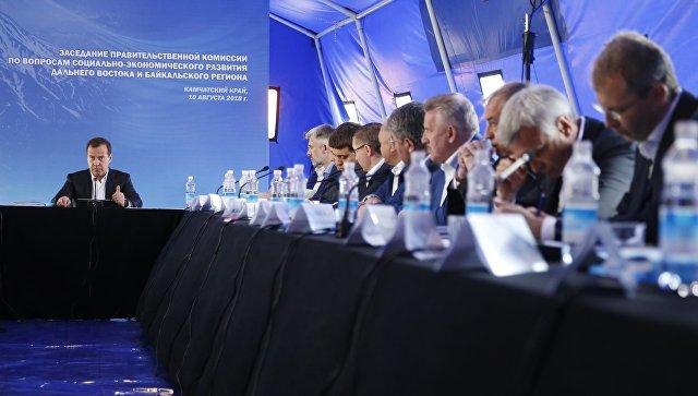 Председатель правительства РФ Дмитрий Медведев проводит заседание Правительственной комиссии. 10 августа 2018