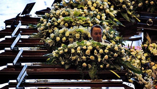 Похороны жертв обрушения моста в итальянском городе Генуя. 18 августа 2018