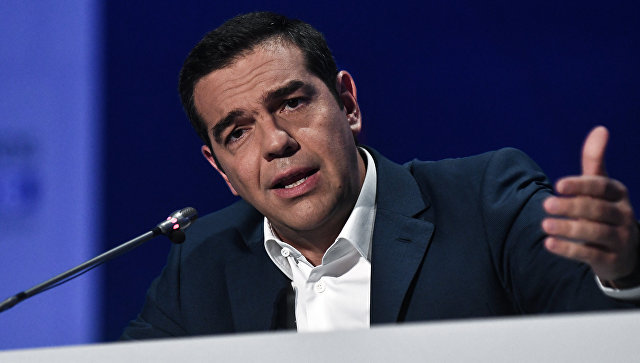 Премьер-министр Греции Алексис Ципрас во время пресс-конференции в Салониках. 9 сентября 2018