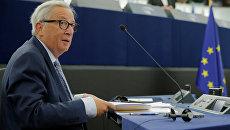 Президент Еврокомиссии Жан-Клод Юнкер во время выступления в Европарламенте. 12 сентября 2018