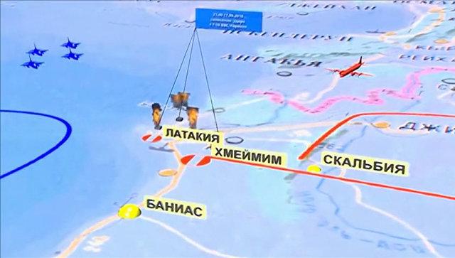 Фрагмент инфографики, демонстрируемый на специальном брифинге министерства обороны России об обстоятельствах крушения Ил-20 ВКС России у побережья Сирии