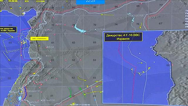 Фрагмент инфографики на экране во время специального брифинга министрства обороны России об обстоятельствах крушения Ил-20 ВКС России у побережья Сирии
