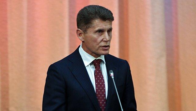 Новый временно исполняющий обязанности губернатора Приморского края Олег Кожемяко во время церемонии представления администрации Приморья. 28 сентября 2018