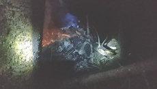 Кадры с места крушения вертолета под Костромой