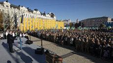 Президент Украины Петр Порошенко во время молебна по случаю ожидаемого решения о предоставлении автокефалии церкви на Украине. 14 октября 2018