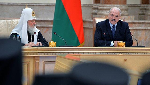 Президент Белоруссии Александр Лукашенко и патриарх Московский и всея Руси Кирилл во время встречи в Минске. 15 октября 2018