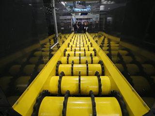 Лента для переработки мусора на выставке WasteTech в Крокус Экспо в Москве.