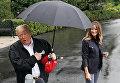Президент США Дональд Трамп с супругой Меланьей на южной лужайке Белого дома в Вашингтоне