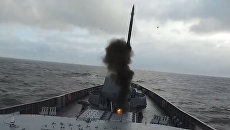 Запуск ракет с фрегата Адмирал Горшков. Кадры Минобороны РФ